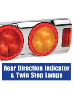Narva 94364C 9-33 Volt L.E.D Rear Direction Indicator and Twin Stop Lamps with L.E.D Tail Rings and 0.5m of Hard-Wired Cables