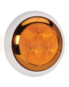 Narva 94335W 9-33 Volt L.E.D Rear Direction Indicator Lamp (Amber) with Chrome Ring, 0.5m Hard-Wired Sheathed Cable and Contoured 150mm White Base