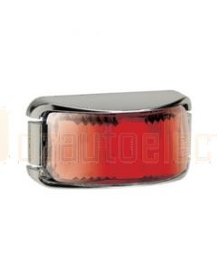 Narva 91632C 9-33 Volt L.E.D Rear End Outline Marker Lamp (Red) with Chrome Deflector Base and 0.5m Cable