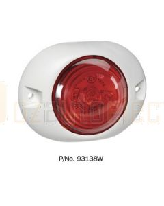 Narva 93138W 9-33 Volt L.E.D Rear End Outline Marker Lamp (Red) with White Deflector Base and 0.5m Cable (White)