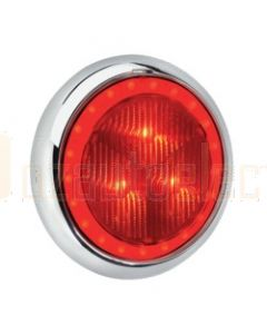 Narva 94341C 9-33 Volt L.E.D Rear Stop Lamp (Red) with Red L.E.D Tail Ring, 0.5m Hard-Wired Sheathed Cable and 150mm Contoured Chrome Base