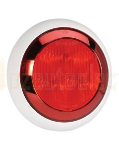 Narva 9-33 Volt L.E.D Rear Stop/Tail Lamp (Red) with Chrome Ring, 0.5m Hard-Wired Sheathed Cable and Contoured 150mm White Base (94336W)