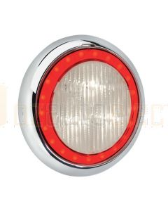 Narva 94342W 9-33 Volt L.E.D Reverse Lamp (White) with Red L.E.D Tail Ring, 0.5m Hard-Wired Sheathed Cable and 150mm Contoured white Base