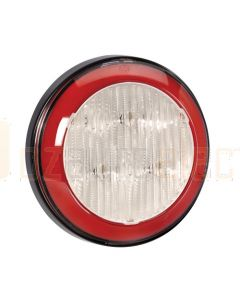 Narva 94312 9-33 Volt L.E.D Reverse Lamp (White) with Red L.E.D Tail Ring, 0.5m Hard-Wired Sheathed Cable and Black Base