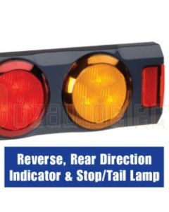 Narva 94363 9-33 Volt L.E.D Reverse, Rear Direction Indicator and Stop / Tail Lamp, 0.5m of Hard-Wired Cable and Grey Housing with In-built Retro Reflectors