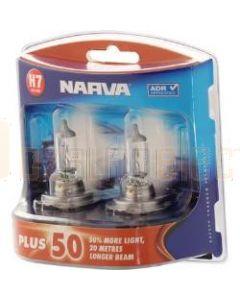 Narva 48339BL2 Halogen H7 Globe 12V 55W Plus 50 Longer Life PX26d (Blister Pack of 1)