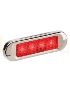 Narva 90834BL 10-30 Volt L.E.D Rear End Outline Marker Lamp (Red) with Stainless Steel Cover and 0.5m Cable (Blister Pack)