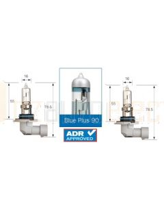 Narva 48533BL2 Halogen HB3 Globe Blue Plus 110 12V 60W P20d (Blister Pack of 2)