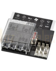 Narva 54442 8 Way Standard ATS Fuse Block with Single Ground and Power in Terminals
