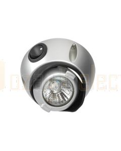 Narva 87650S 12V 10W Interior Swivel Lamp with Silver Satin Finish with Off/On Switch