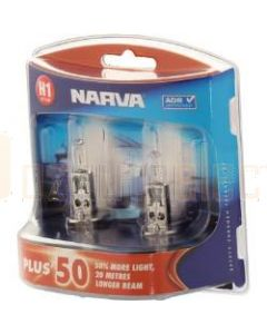 Narva 48334BL2 H1 Halogen 12V 55W Plus 50 Longer Life P14.5s (Blister Pack)