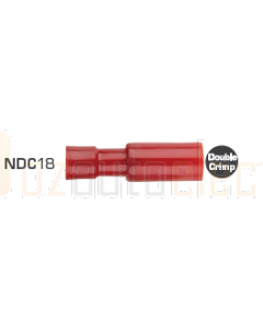 Quikcrimp NDC18 Nylon Red 4mm Bullet Terminal - Female 100 Pack
