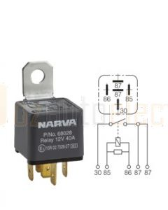 Narva 68028BL 12V 40 Amp 5 Pin Normal Open Relay Resistor Protected