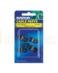 Narva 56582BL Nylon Black Cable Clamps (P-Clips) - 6.4mm (Blister Pack of 5)