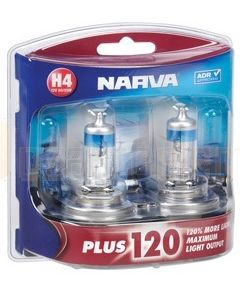 Narva 48362BL2 Halogen H4 Globe 12V 60/55W Plus 120 P43t (Blister Pack of 2)