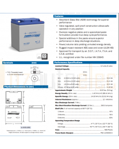 Power-Sonic PDC12260H PDC Series 12V 26AH C20 Cyclic AGM Battery