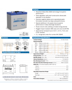 Power-Sonic PDC12600 PDC Series 12V 59AH C20 Cyclic AGM Battery