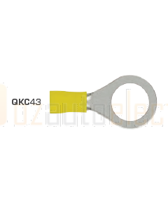 Quikcrimp QKC43 12mm Yellow Heatshrink Ring Terminal