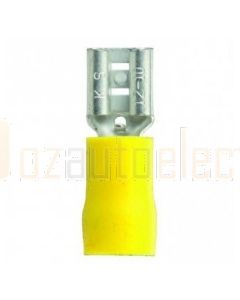 Quikcrimp QKC50 Yellow Vinyl, Female 6.3mm Blade Terminal