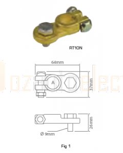 Quikcrimp RT10N Battery Terminal - 16mm Bolt, Negative