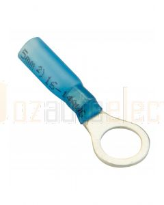 Quikcrimp HDC24 Blue 8mm Heatshrink Ring Terminal - Pack of 100