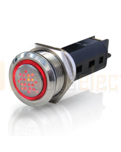 Hella Stainless Steel Buzzers with Light Coloured Red LED Ring 24V DC
