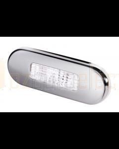 Hella White LED Oblong Step Lamp (10-33V DC, Polished Stainless Steel Rim)