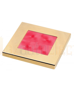 Hella Red LED Square Courtesy Lamp (12V DC, Gold Plated Rim)