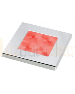 Hella Red LED Square Courtesy Lamp (24V DC, Chrome Plated Rim)