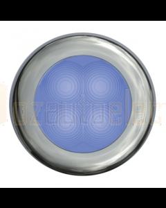 Hella Blue LED Round Courtesy Lamp - Satin Stainless Steel Rim (24V)
