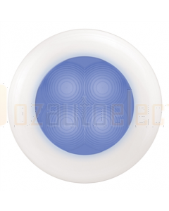 Hella Blue LED Round Courtesy Lamp - White Plastic Rim (24V)