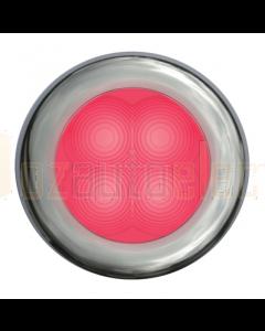 Hella Red LED Round Courtesy Lamp - Satin Stainless Steel Rim (12V)