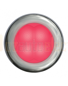 Hella Red LED Round Courtesy Lamp - Polished Stainless Steel Rim (24V)