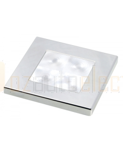 Hella White LED 'Enhanced Brightness' Square Courtesy Lamp (12V DC, Chrome Plated Rim)