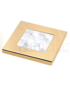Hella White LED 'Enhanced Brightness' Square Courtesy Lamp (12V DC, Gold Plated Rim)