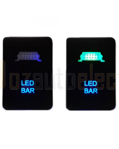 Lightforce Momentary Negative Polarity Switch, LED Bar - GR/BL LED (inc Hilux/Prado/Ranger PXII)