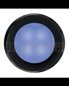 Hella Blue LED Round Courtesy Lamp - Black Plastic Rim (24V)