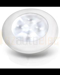 Hella White LED 'Enhanced Brightness' Round Courtesy Lamp - White Plastic Rim (12V)
