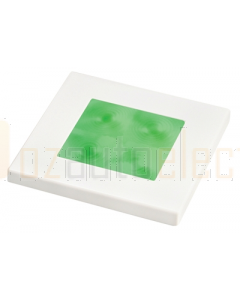 Hella Green LED Square Courtesy Lamp (12V DC, White Plastic Rim)