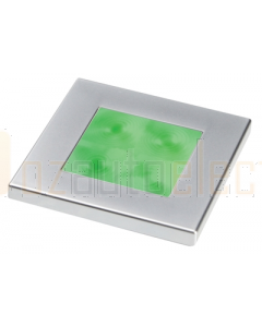 Hella 2XT980583061 Green LED Square Courtesy Lamp (24V DC, Satin Chrome Plated Rim)
