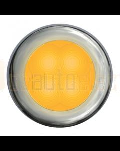 Hella Amber LED Round Courtesy Lamp - Polished Stainless Steel Rim (12V)