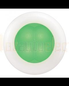 Hella Green LED Round Courtesy Lamp - White Plastic Rim (12V)