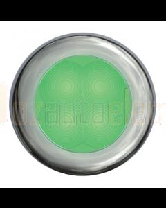 Hella 2XT980502021 Green LED Round Courtesy Lamp - Polished Stainless Steel Rim (12V)