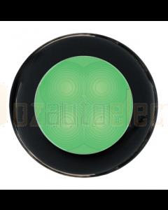Hella Green LED Round Courtesy Lamp - Black Plastic Rim (24V)