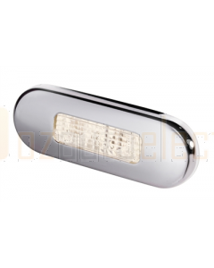 Hella 2XT959680411 Warm White LED Oblong Step Lamp (10-33V DC, Polished Stainless Steel Rim)
