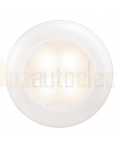 Hella Warm White LED 'Enhanced Brightness' Round Courtesy Lamp - White Plastic Rim (24V)