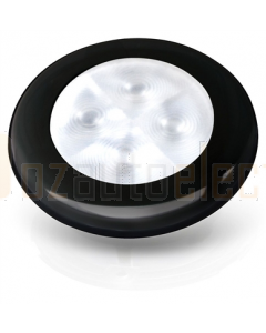 Hella White LED 'Enhanced Brightness' Round Courtesy Lamp - Black Plastic Rim (12V)