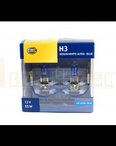 Hella H3 Headlight Set 55W 12V PK22s Xenon Blue
