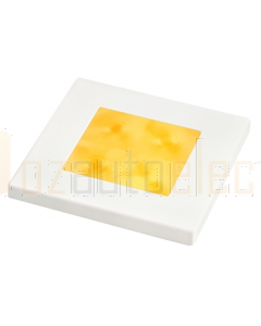 Hella 2XT980587051 Amber LED Square Courtesy Lamp (12V DC, White Plastic Rim)