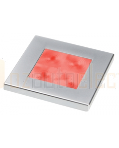 Hella 2XT980588261 Red LED Square Courtesy Lamp (24V DC, Satin Chrome Plated Rim)